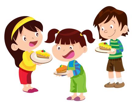 niños comiendo: Vectoe de los niños tienen un pastel y se lo comerá