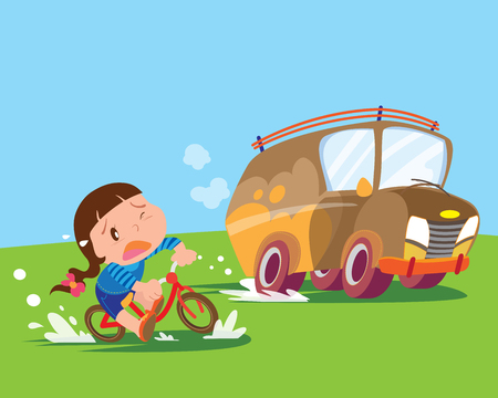 children girl ride a bicycle uptight the big car Illustration