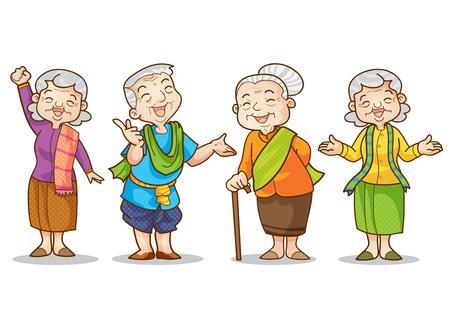 Ilustración divertida del viejo hombre y la mujer en conjunto tradicional personaje de dibujos animados del traje.
