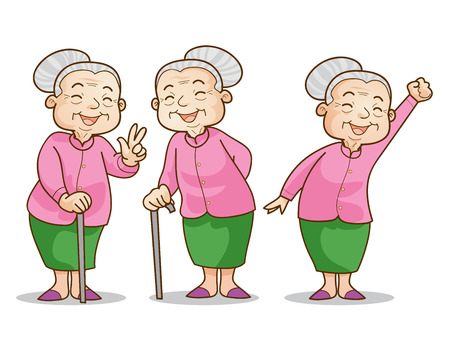old: Funny illustration of old woman cartoon character set. Isolated vector illustration.