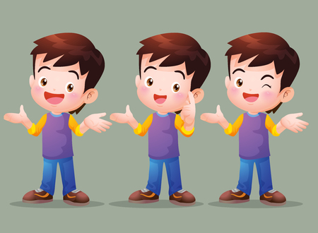glad: Vector of Cute boy have Answer in many actions. Illustration