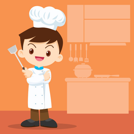 smart boy: cute boy chef look smart holding a frying spoon.
