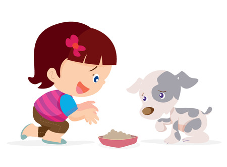 illustration of Cute girl give a food for little dog.
