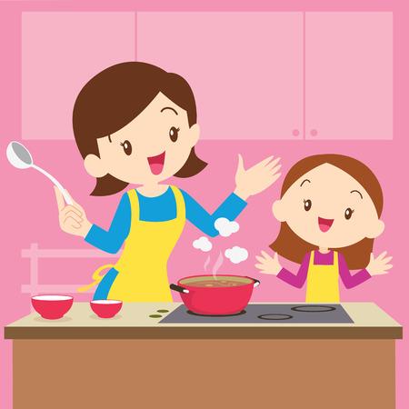 Ilustracja gotowania matki i córki