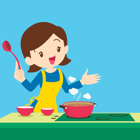 curry dish: woman cooking and presenting at the kitchen
