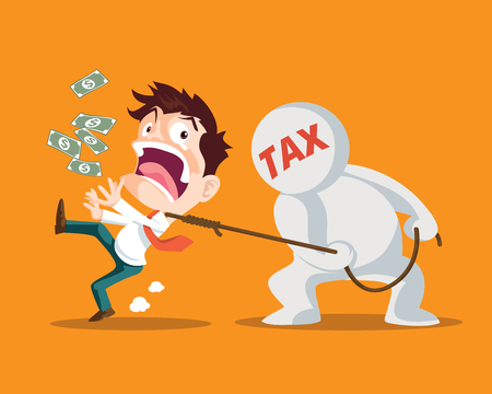 Businessman running away from tax,Man strangled by taxes is inevitable,Tax man pulling businessman,