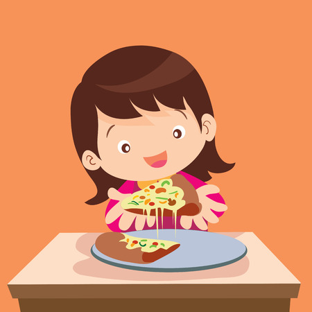 illustration of Girl and pizza.Beautiful girl eating pizza.Happy cute little girl holds in hands a pizza.Hungry girl eating a slice of pizza