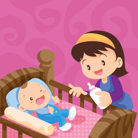 Joli bébé avec du lait bottle.Cute bébé dans le lit avec mother.Mother Nourrir bébé avec du lait Biberon, le jour de mère, mère, Biberon, Nourrir, Sucer, nourrisson, maternité, Innocence