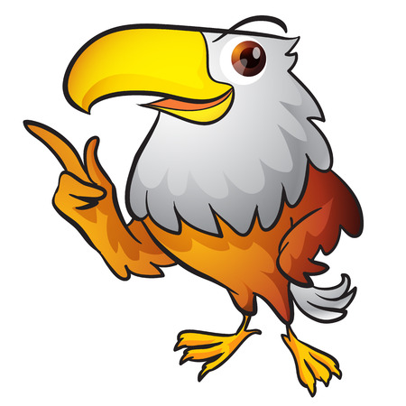 Eagle Mascot,Cartoon eagle posing,Eagle Mascot pointing,Smart Eagle Mascot presenting Vettoriali