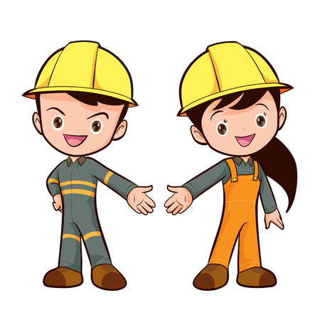 specialists: Couple of construction workers characters , Young man and woman friendly smiling workers in work wear overalls standing isolated.Building male and female specialists ready for work,safety work wear cute boy and girl.