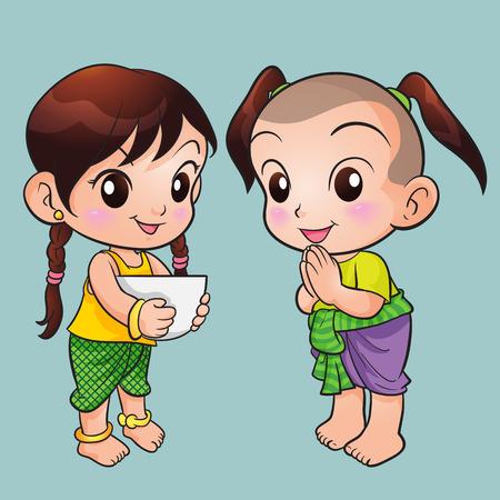 전통적인 태국 어린이 문자 서. 태국 의상, 그림 격리 된 귀여운 소년과 소녀 태국 전통 드레스 인사말. 전통 의상에서 아이들.