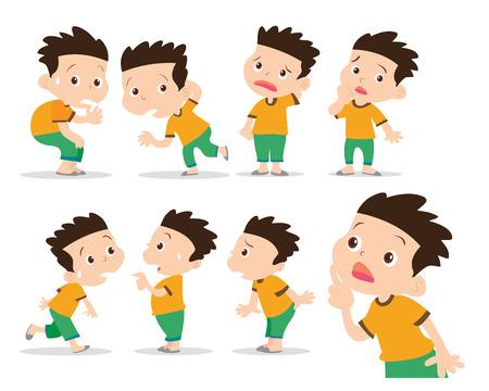 cartoon child: illustrator of boy have wonder and confused actions set Illustration