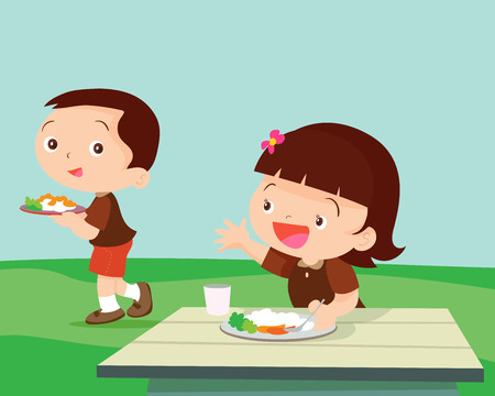 eating food: Cute student girl greet friend.Children meet a friend for eat together.