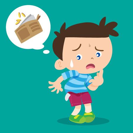 illustration of cartoon boy lose money.
