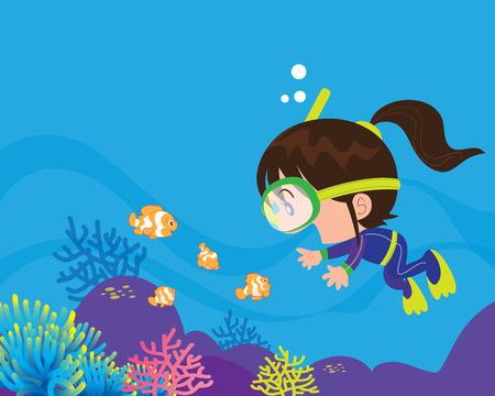 Gerätetauchen. Mädchen Schwimmen unter Wasser mit Fischen. Schnorcheln Mädchen Vektorgrafik
