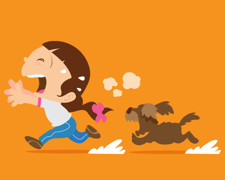 bite: Cute girl running away from angry dog.Dogs chases to bite