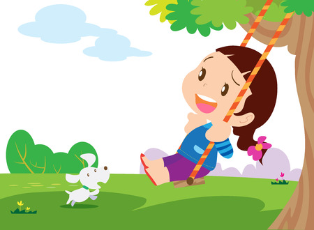 hair wind: Swinging kid. Happy smiling girl with flying in the wind hair on a swing.