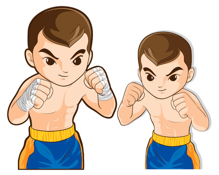 boy boxing: vector of boxing msn guard for fighting actions practice