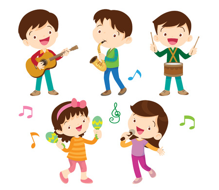 illustrator vector of dancing kids and kids with musical instruments Illustration