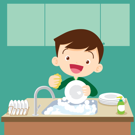 cute boy doing dishes.Teenage washing dishes. Ilustracja