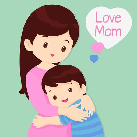 Mother's Day, Omhelzen, liefde, kinderen van de liefde, de Zoon knuffelen zijn moeder. Stock Illustratie
