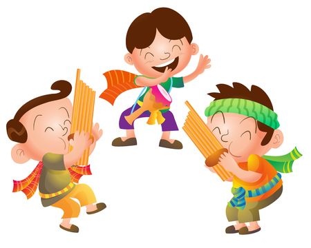 traditional culture: Illustration of Cute cartoon Traditional Thai Musician group vector.Three man cartoon play thai Traditional music culture.