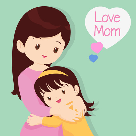 Mother's Day, Embracing, Love, Children of love,Daughter Hugging His Mother. Illustration