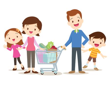 introducir los caracteres de compras de la familia, ir de compras, aisladas sobre fondo blanco, estilo de dibujos animados, papá hija hijo madre está haciendo compras.