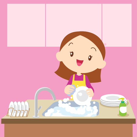 clean up: cute girl doing dishes.Teenage washing dishes.