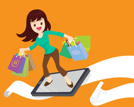 smart woman: woman surf shopping online by smart phone.