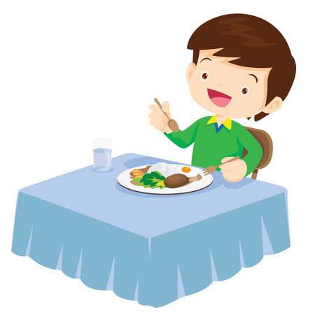 Illustration of a cute boy eating on a white background