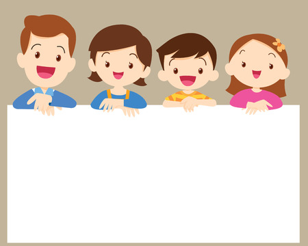 Cute family post smile on a white board, space frame Illustration