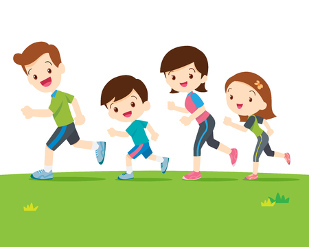 Cute family runing together.Dad son mom daughter are jogging. Иллюстрация