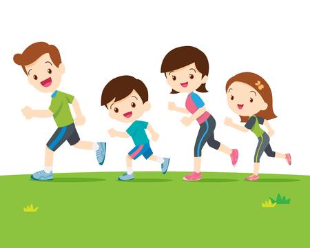 Familia linda runing together.Dad hija hijo madre son trotar.