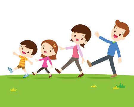 Una familia feliz con dos hijos caminando en una línea aislada en sward.Dad hija hijo madre están caminando tan feliz.
