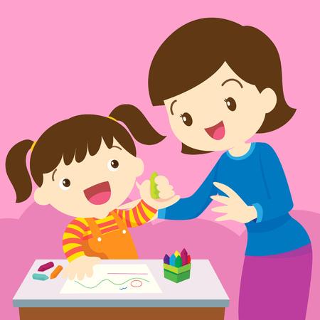 그녀의 딸을 가르치는 어머니의 그림입니다. 엄마와 색칠 행복 한 어린이