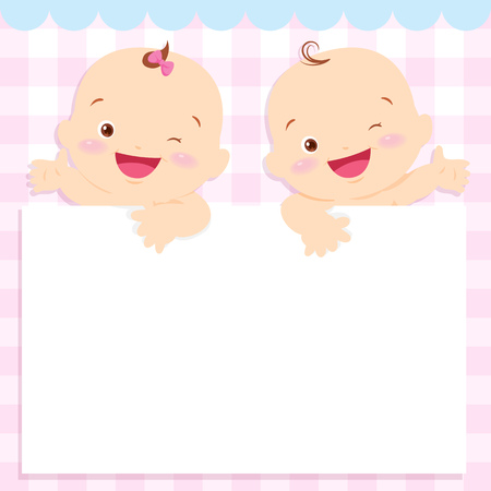 boy smiling: Happy babies with board.Cute Baby Boy and Girl smiling on space frame. Illustration