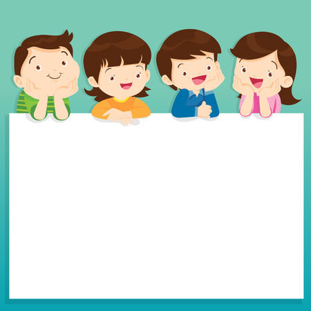 post teen: children post smile on a white board, Kids and space frame,frame and children.