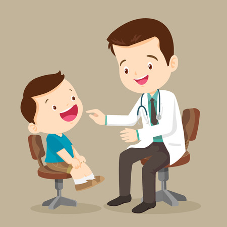 doctor is seeing a small boy.They are sitting at the table and talking.They are smiling. The doctor is looking at the child with joy. Isolated on background.doctor doing medical examination of kids. Stock Illustratie