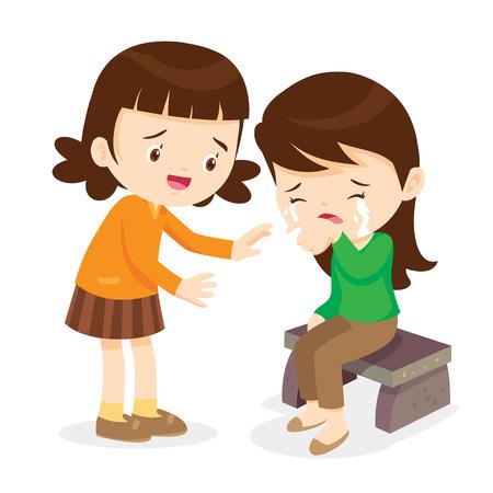 Nettes Mädchen tröstend ihr Friend.Children Trösten Schrei Isolathintergrund Weinen