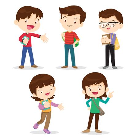 Scholieren character.teenage meisjes en boys.young tieners glimlachen gelukkig samen staan klaar om terug naar school te gaan met rugzakken
