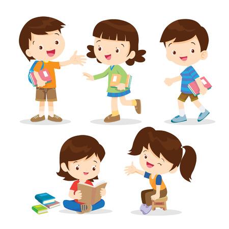 basisschoolleerlingen scholen character.Back naar school. Set van schoolkinderen in onderwijsconcept Stock Illustratie