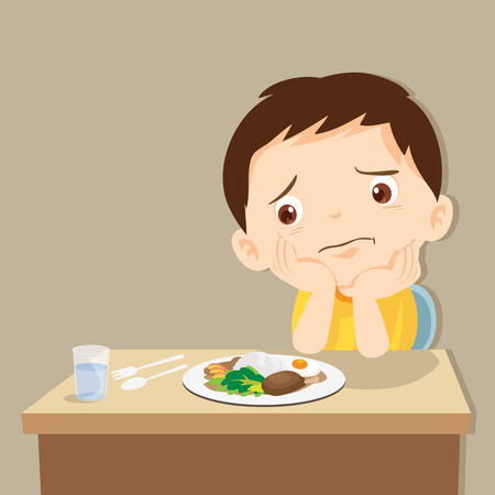 child eating boring food.Cute little boy bored with food. Stock Illustratie