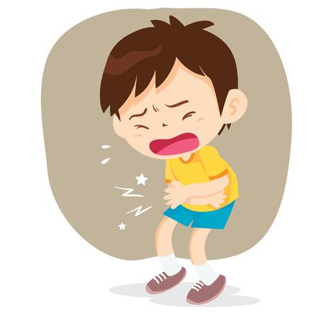 El muchacho que tiene dolor de estómago, ilustración vectorial estilo de dibujos animados aislado en el fondo blanco. El pequeño niño de pulsar las manos a su abdomen, triste y sudoración Ilustración de vector