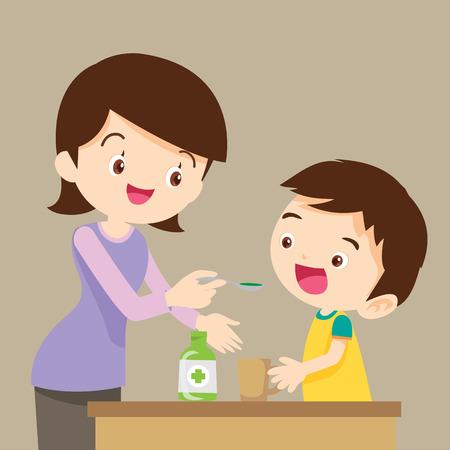 El pequeño niño de beber la medicina jarabe líquido madre mano feed.cute niño coma vector de la historieta de drogas.
