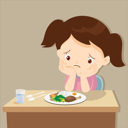 kind eten saai food.Cute meisje verveeld met voedsel. Stock Illustratie