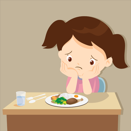 child eating boring food.Cute little girl bored with food. Illustration
