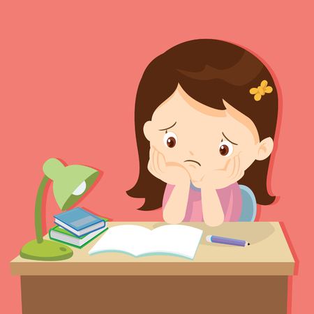 kid boring about someting.back to school.cute girl bored homework.