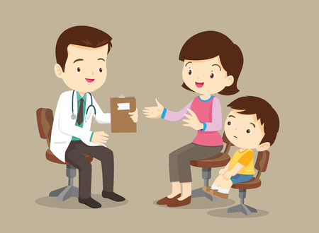 Vector illustration of a mom and son in doctors office.Mother and a little son visiting the doctor. The pediatrician exams babys mouth. Vector art isolated on white. Cartoon style. Great illustration for school books. magazines, advertising etc.