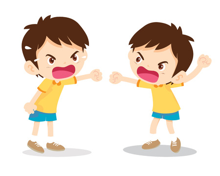 Little angry boy shouting various actions on white background cartoon vector illustration.